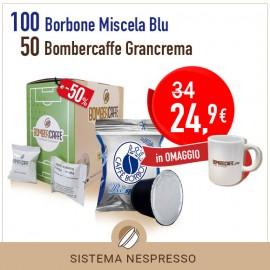 NESPRESSO 100 capsule Borbone Miscela Blu + 50 capsule Bombercaffe